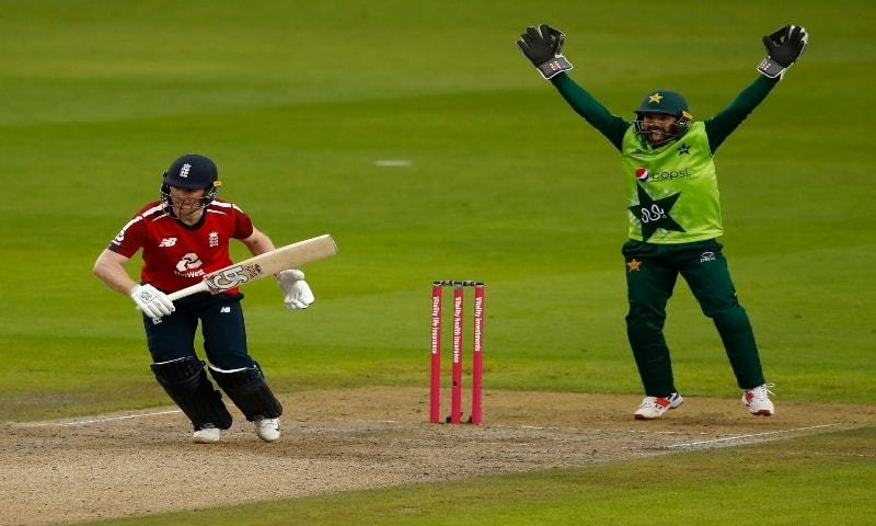 Pakistan's wicketkeeper Mohammad Rizwan, right, appeals successfully for the wicket of England's captain Eoin Morgan, left, during the first Twenty20 cricket match between England and Pakistan, at Old Trafford in Manchester, England on August 28, 2020. — AP/File