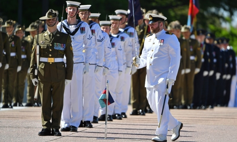 An honour guard is formed at Defence Headquarters in Canberra, Australia, Thursday, Nov 19, 2020, before findings from the Inspector-General of the Australian Defence Force Afghanistan Inquiry are released. — AP