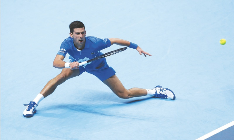 LONDON: Novak Djokovic of Serbia in action during his group stage match of the ATP Tour Finals against Russia's Daniil Medvedev at O2 Arena. —Reuters
