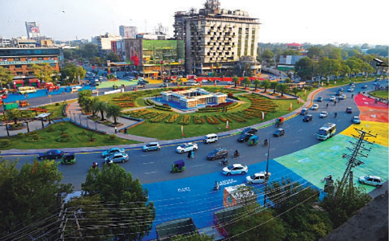 A view of Liberty roundabout painted by the Punjab  government to promote beautification of the city. — White Star / M. Arif