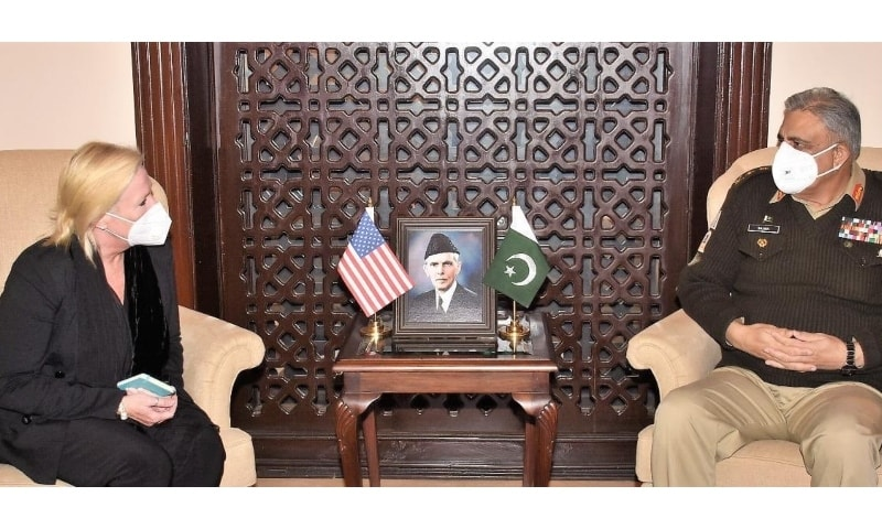 US Charge d'Affaires to Pakistan Angela Aggeler meets Chief of the Army Staff Gen Qamar Javed Bajwa. — Photo courtesy ISPR