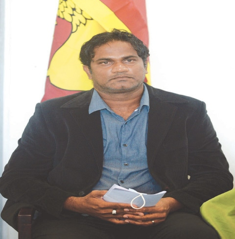 COLOMBO: Former Sri Lankan fast bowler Nuwan Zoysa addresses a press conference on Friday.—AFP