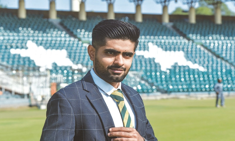 LAHORE: Pakistan captain Babar Azam poses for photographs after a media briefing at the Gaddafi Stadium on Friday.—M. Arif/White Star