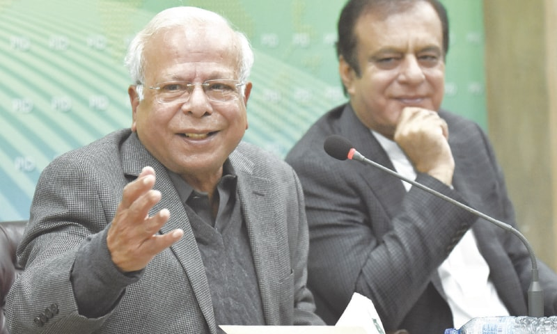 ADVISER on Institutional Reforms and Austerity Dr Ishrat Husain addressing a press conference on Friday.—White Star