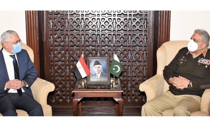 Egyptian Ambassador Tarek Mohamed Dahroug on Friday called on Chief of the Army Staff Gen Qamar Javed Bajwa. — Photo courtesy ISPR