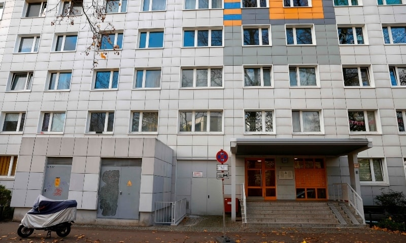 This picture shows a residential building in Berlin's Lichtenberg district, where a presumed victim of cannibalism was reported to live. — AFP