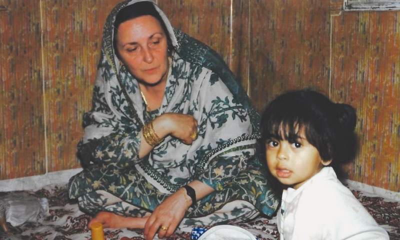Mariam Abou Zahab on one of her visits to Pakistan in the 1990s | Herald file photo