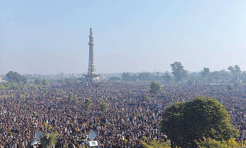 LAHORE: People gather around Minar-i-Pakistan to attend the funeral prayers of Khadim Hussain Rizvi on Saturday. — Murtaza Ali / White Star