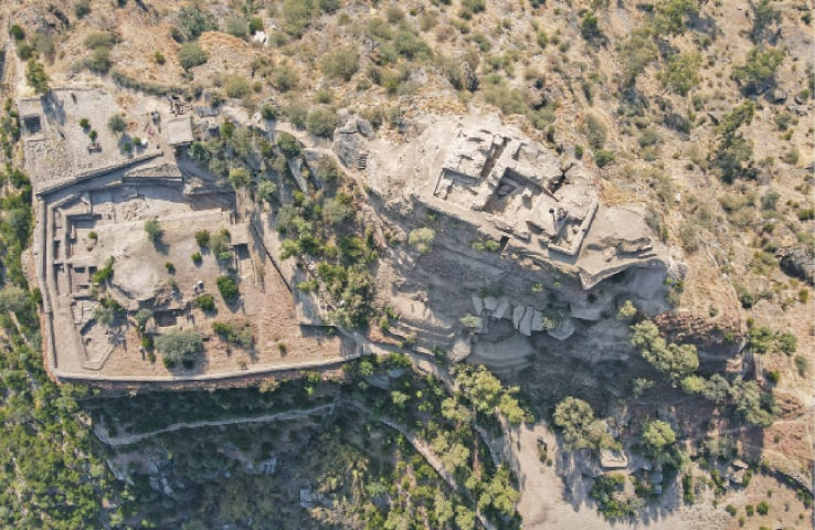 A view of top of Ghwandai, Bazira in Swat where archaeologists have made new discoveries.— Dawn