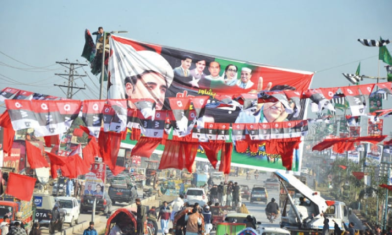 Flags and banners of opposition parties have decorated Ring Road in Peshawar near the venue of PDM rally to be held on Sunday (today).