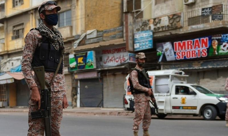 The city administration on Saturday enforced smart and micro-smart lockdowns in several emerging hotspots across Karachi to deal with the rising cases of Covid-19 as part of the second wave of the novel coronavirus. — AFP/File