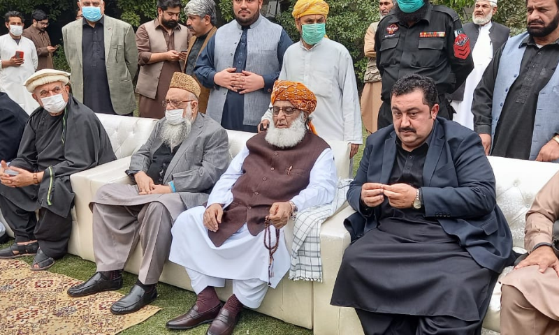 PDM chief Maulana Fazlur Rehman is seen sitting in Bilour House. — Sirajuddin