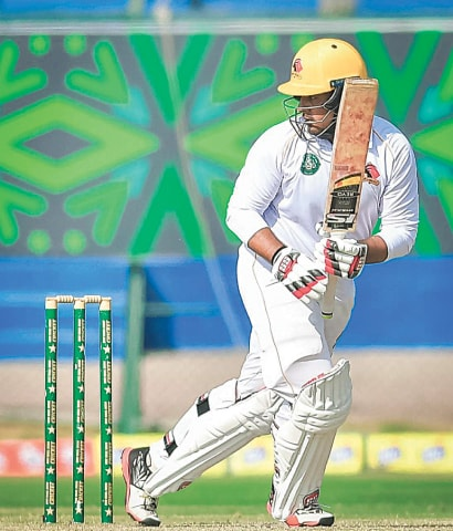 KARACHI: Sindh opener Sharjeel Khan takes another run during his century against Southern Punjab at the National Stadium on Sunday.—Courtesy PCB
