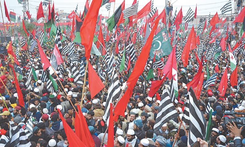 Supporters of opposition parties attend the PDM rally at Ring Road on Sunday. —Shahbaz Butt / White Star