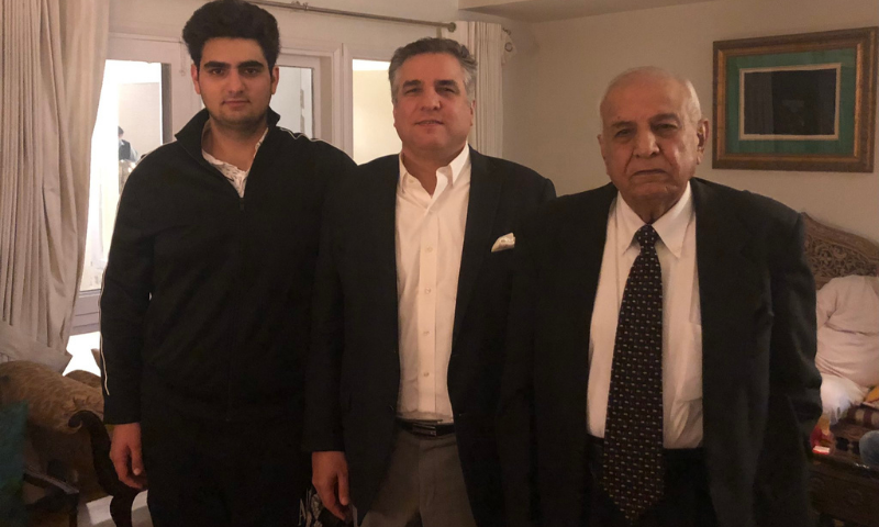 In this file photo, former federal minister Anwar Aziz Chaudhry (R) can be seen with his son PML-N leader Daniyal Aziz (C). — Photo courtesy Mehnaz Akbar Twitter