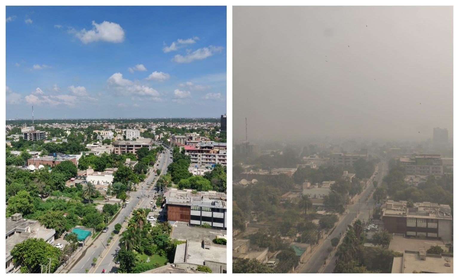 Pictures taken by a resident show the view from an office in Main Boulevard Gulberg Lahore in (L) July 2019 and (R) November 2020. — Photo by Ahmed Muzammil