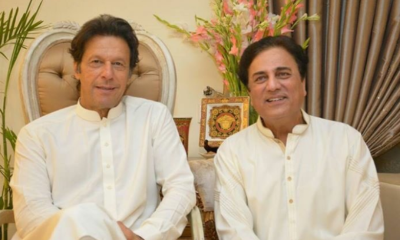 In this file photo, promi­nent lawyer Naeem Bukhari is seen with Prime Minister Imran Khan. — Photo courtesy Naeem Bukhari FB