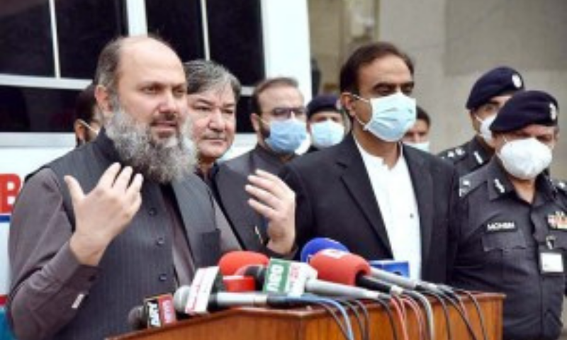 In this Aug file photo, Balochistan Chief Minister Jam Kamal Khan Alyani addresses the media in Quetta. — APP