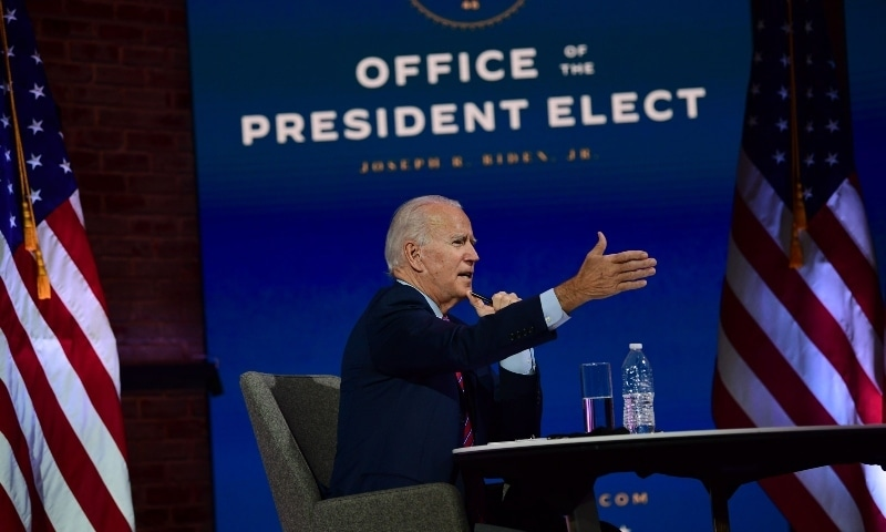 US President-elect Joe Biden speaks during a virtual meeting with the United States Conference of Mayors on November 23 in Delaware. — AFP
