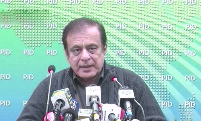 In this file photo, Information Minister Shibli Faraz speaks at a press conference in Islamabad. — DawnNewsTV/File