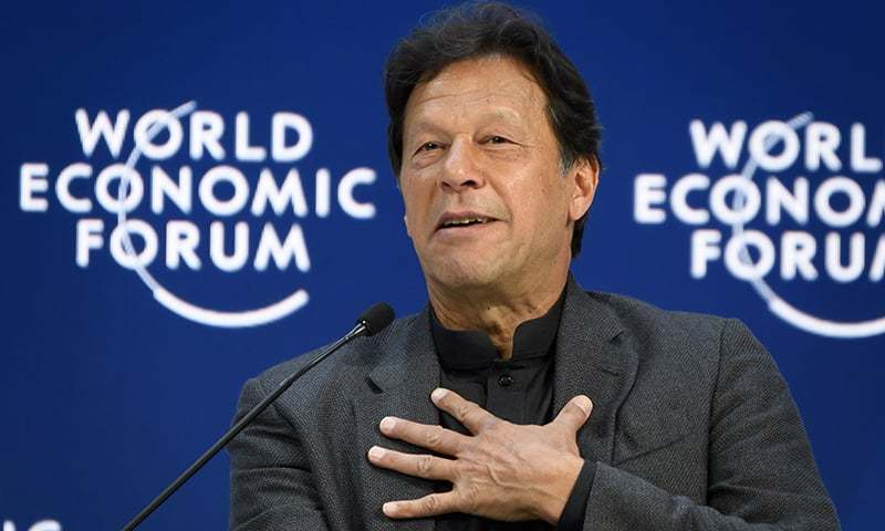 Prime Minister Imran Khan delivers a speech at the World Economic Forum (WEF) annual meeting in Davos, on January 22, 2020. — AFP/File