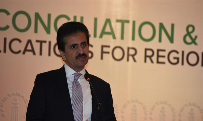 FO spokesperson Zahid Hafeez Chaudhri speaks at a ceremony. — Twitter/File