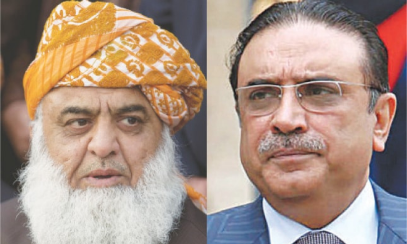 "Maulana Fazlur Rehman, the chief of the Pakistan Democratic Movement (PDM) and of his own faction of the Jamiat Ulema-i-Islam (JUI-F), on Tuesday met former president Asif Ali Zardari and discussed ""recent political situation"" with him. — File photo"