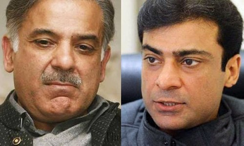 This combination file photo shows PML-N president Shehbaz Sharif and his son Hamza Shehbaz. — Dawn