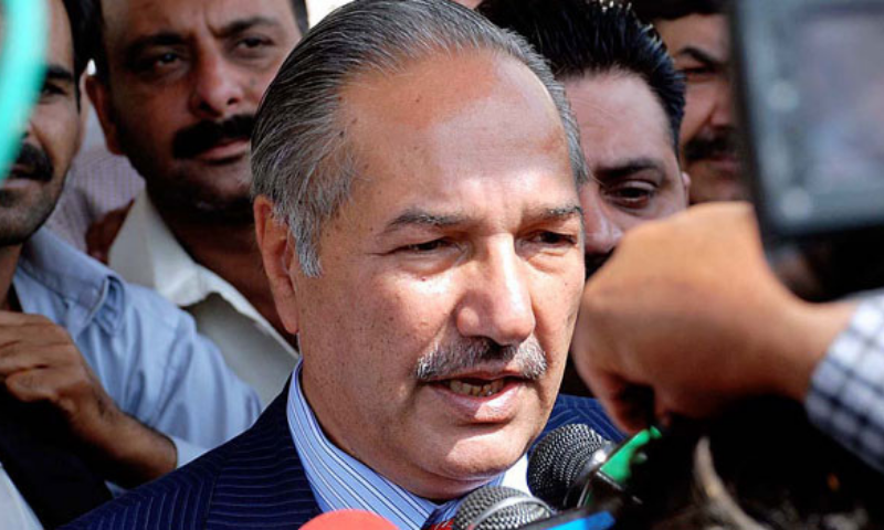 In this file photo, senior PPP leader Chaudhry Ahmad Mukhtar addresses the media. — APP