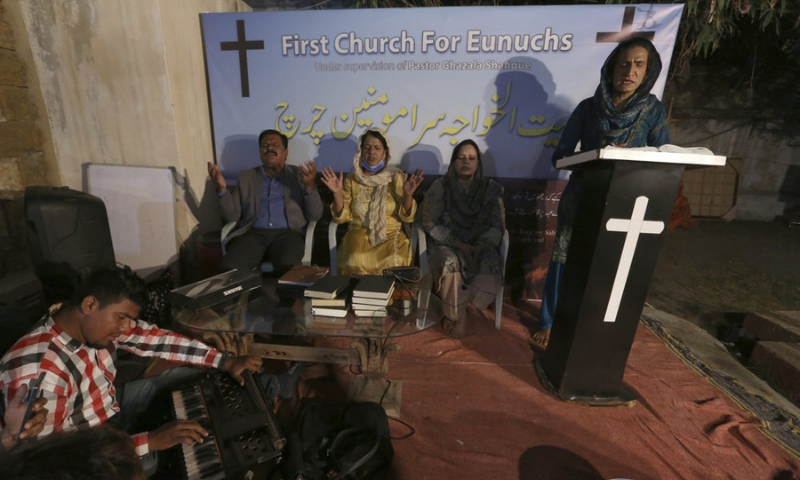 Nisara Gill, right, leads a prayer service at Pakistan's first church for transgender worshippers in Karachi on Nov 13. — AP