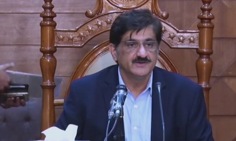 Sindh Chief Minister Murad Ali Shah speaking at a press conference on April 15. — DawnNewsTV/FIle