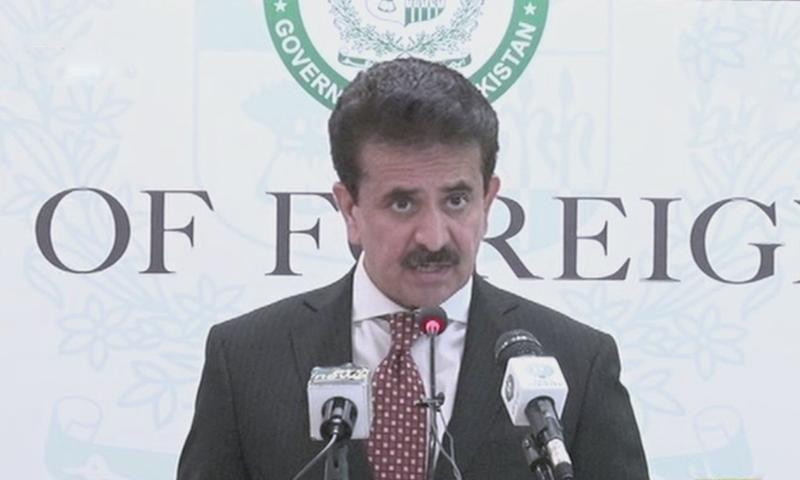 FO spokesperson Zahid Hafeez Chaudhri speaks to reporters during a press briefing. — DawnNewsTV