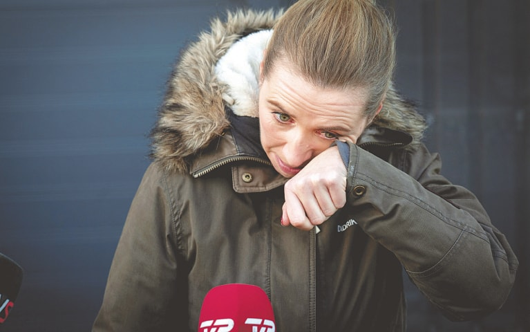 KOLDING: Denmark's Prime Minister Mette Frederiksen is in tears after visiting an empty mink farm on Thursday.—Reuters