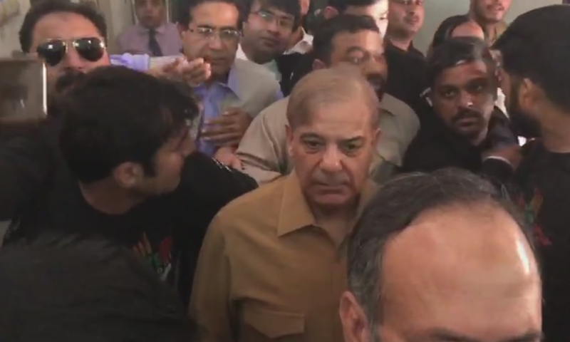 In this file photo, PML-N president Shehbaz Sharif appears for a hearing at an accountability court in Lahore. — DawnNewsTV
