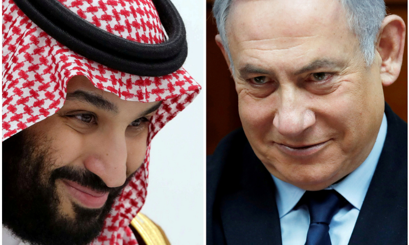 A combination picture shows Saudi Arabia's Crown Prince Mohammed Bin Salman in Osaka, Japan on June 29, 2019 and Israeli Prime Minister Benjamin Netanyahu in Jerusalem on February 9, 2020. — Reuters