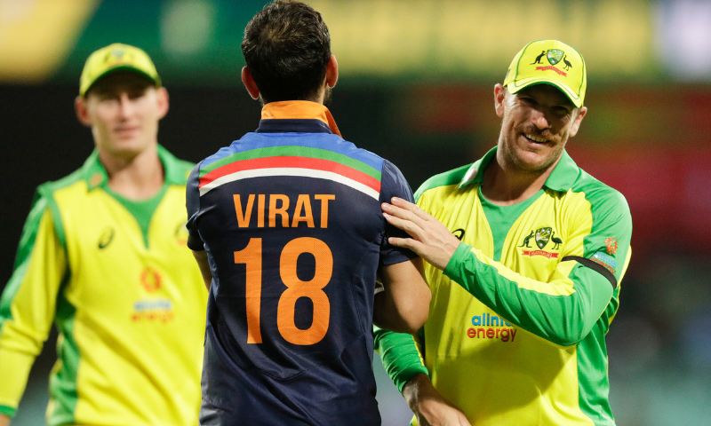 India's Virat Kohli congratulates Australia's Aaron Finch, right, after the one day international cricket match between India and Australia at the Sydney Cricket Ground in Sydney, Australia on November 27, 2020. — AP