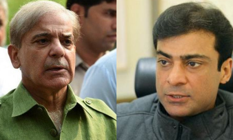 PML-N President Shehbaz Sharif (L) and his son Hamza Shehbaz have been released on parole for five days. — Dawn.com