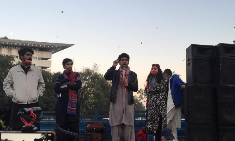 Activist Ammar Ali Jan (centre) addresses a student protest in Lahore. — Photo provided by Imran Gabol