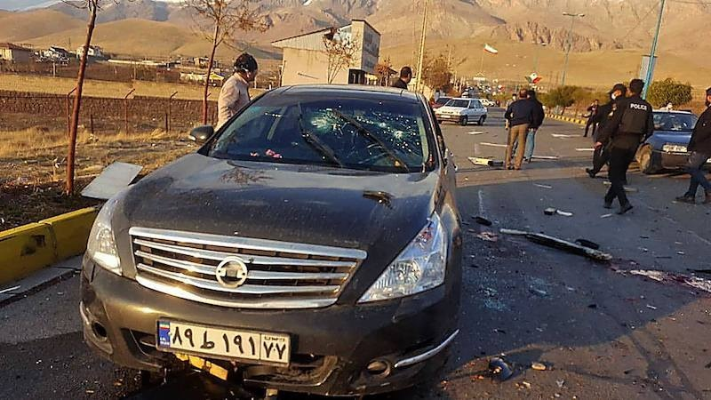 A handout photo made available by Iran state TV IRIB on November 27, 2020, shows the damaged car of nuclear scientist Mohsen Fakhrizadeh after it was attacked near the capital Tehran. — AFP