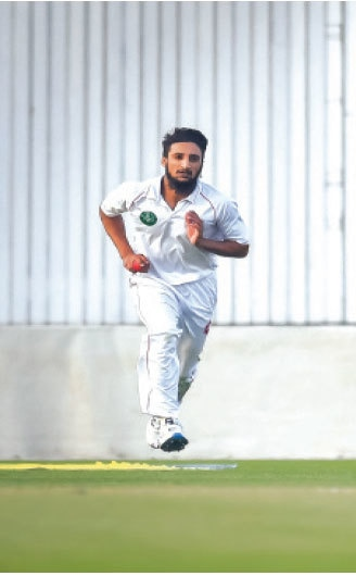 NORTHERN'S debutant paceman Munir Riaz in action against Khyber Pakhtunkhwa at the National Stadium on Friday. —Courtesy PCB