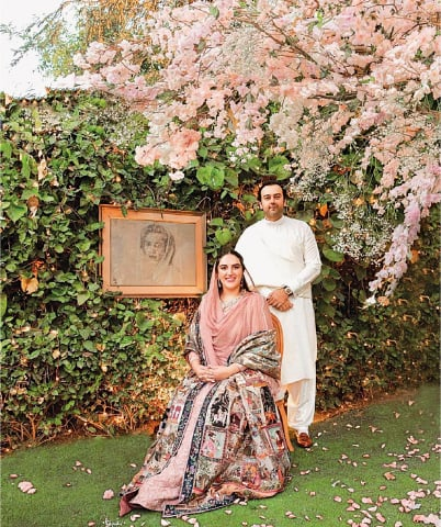 BAKHTAWAR Bhutto-Zardari and her fiancé Mahmood Chaudhry at their engagement ceremony on Friday.—Courtesy Bilawal House