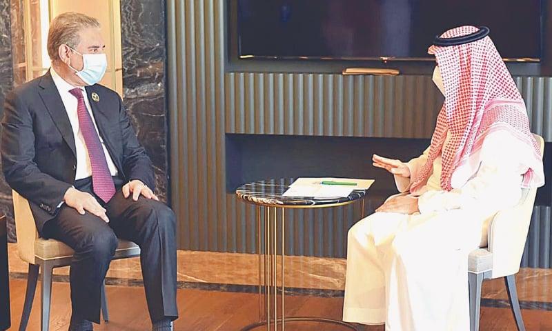 NIAMEY: Foreign Minister Shah Mehmood Qureshi holds a meeting with his Saudi counterpart Prince Faisal bin Farhan  Al Saud on Friday.—APP