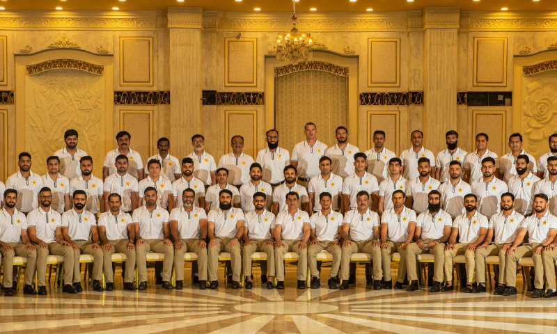 The Pakistan squad is pictured before leaving for New Zealand. — Photo courtesy PCB/File