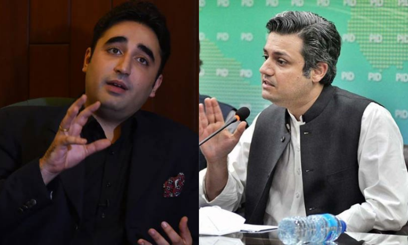 This combination file photo shows PPP chairperson Bilawal Bhutto-Zardari (L) and Minister for Industries and Production Hammad Azhar (R). — AFP/APP