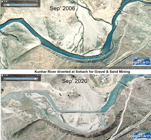 Kunhar River diverted at Sohach for gravel and sand mining (above: Sept  2006; below: Sept 2020) | Dawn GIS