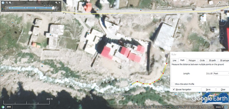 Land along the Kunhar tributary from Lake Saiful Muluk has been encroached by a hotel being constructed by the son of a retired general | Dawn GIS