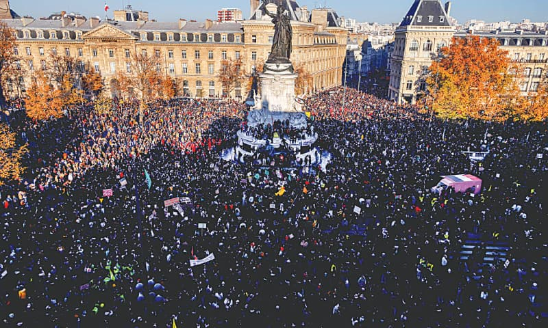 Paris: Demonstrators gather during a protest against a draft law which would criminalise the publication of images of on-duty police officers. — AFP