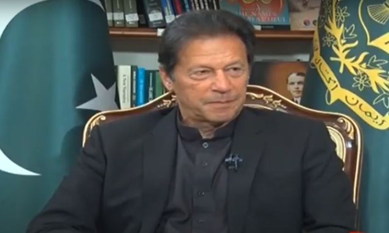 Prime Minister Imran Khan speaks during an interview aired on Saturday. — Express News screengrab
