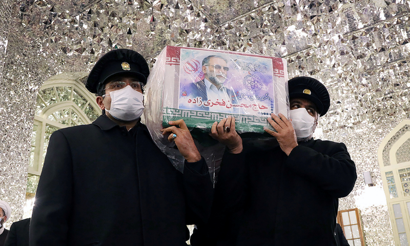 Servants of the holy shrine of Imam Reza carry the coffin of Iranian nuclear scientist Mohsen Fakhrizadeh, in Mashhad, Iran on November 29, 2020. — Reuters