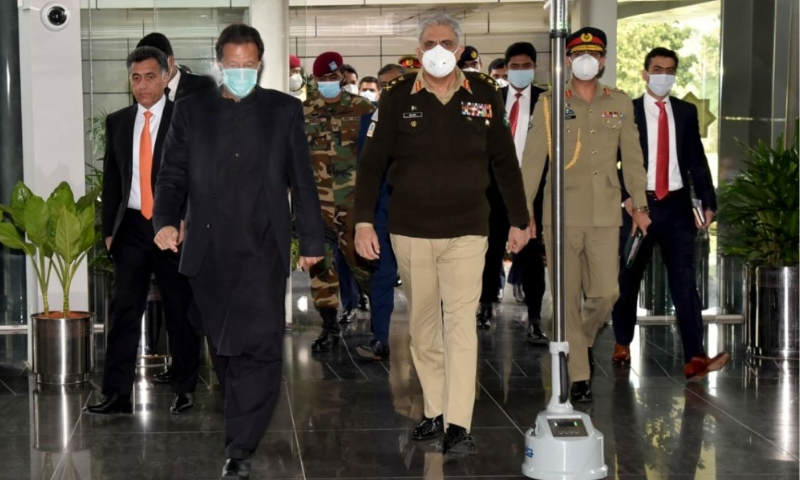 Prime Minister Imran Khan, Army Chief Gen Qamar Javed Bajwa and other officials arrive at the ISI headquarters. — Photo courtesy PMO Twitter account